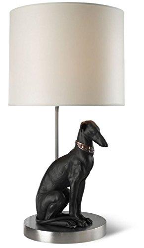 Casa Padrino Tischleuchte mit Porzellan Windhund Figur Silber/Schwarz 35 x H. 69 cm - Tischlampe mit Handgefertigter & Handbemalter Hunde Skulptur