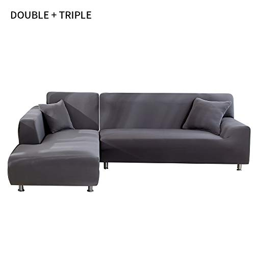 SearchI Funda Sofá Chaise Longue Brazo Izquierdo Elástico Cubre Sofa Protector para Sofá en Forma de L Acolchado Brazo Izquierdo (Gris,2 Plazas +3 Plazas)