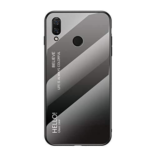 LUSHENG Capa para Huawei Nova 3, cor gradiente vidro temperado capa traseira macia TPU Edge capa para celular Huawei Nova 3 (6,3 polegadas) - cinza + preto