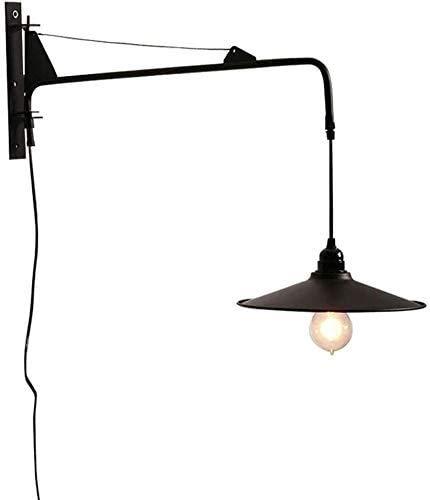 Lámpara De Pared Simple Y Fresca Iluminación de pared de metal de estilo minimalista Moderno iluminación de la iluminación con 23.6 pulgadas Brazo de giro ajustable Lámpara de pared enchufable única L
