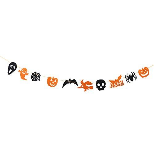 OULII Happy Halloween Banner bruja calabaza Bat cráneo bandera colgando de guirnalda para la decoración de Halloween partido