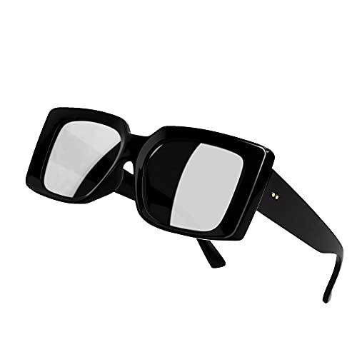 YTJHFA Gafas de sol Gafas rectangulares unisex Retro Gafas cuadradas de gran tamaño Adolescentes Gafas de sol polarizadas de moda vintage Montura de plástico negro1
