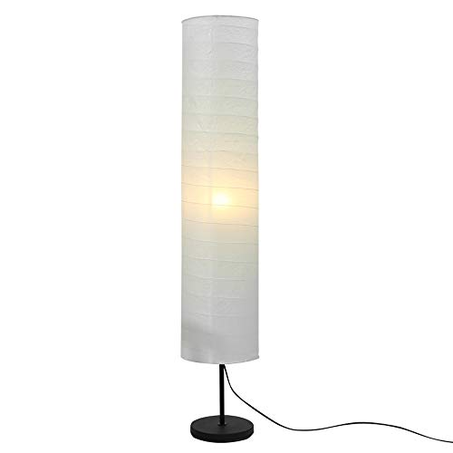Reispapier Stehlampe Modern Design Reispapierlampe in Weiß Rund, Schlafzimmer, Wohnzimmer Deko Lampe, Stehlampe mit Lampenschirm aus papier, E27