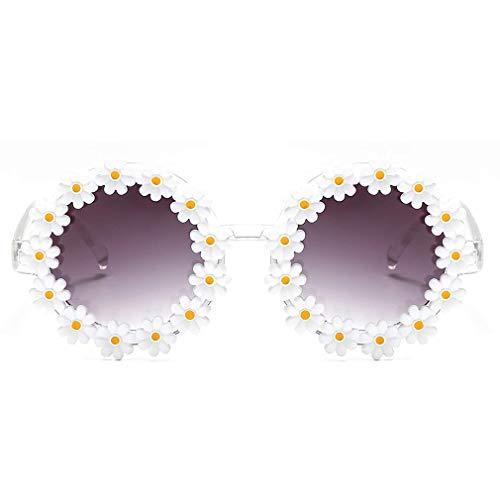 AugSep Gafas de sol retro margaritas para mujer, diseño de flores, redondas, AG-UK-A202113136
