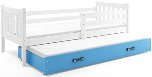 Interbeds Funktionsbett CARINO 190x80cm Farbe  Weiß, aus Kiefernholz; mit Matratzen und Lattenroste (Weiß + Blaue Schublade)