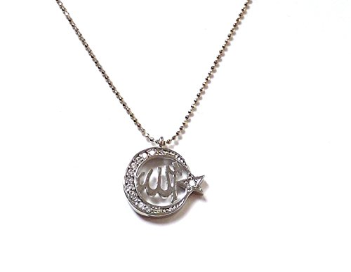 Remi Bijou Schöne Halskette Kette - Stern und Mond mit Allah Namens - Strass Silber Farbe
