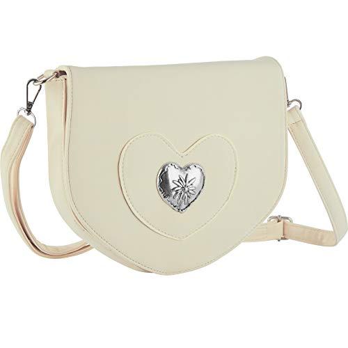 dressforfun 900650 Damen Trachten Handtasche mit Herz Motiv, Schicke Trachtenhandtasche in Wildlederoptik (Beige | Nr. 303265)