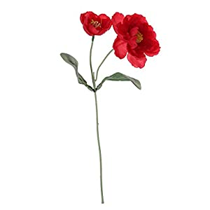 BESTOYARD 1PC Fake Beautiful Artificial Flowers Poppy Stem Silk Flowers for Home Wedding Party Xmas Year Decoration Gift (Rose Red)