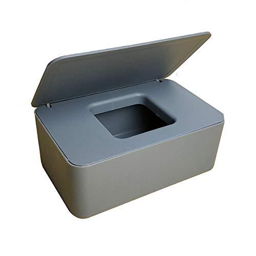 LACKINGONE Feuchttücherbox, Aufbewahrungsbox für Feuchttücher, Baby Feuchttüchter Box, Feuchttücher Spender, Serviettenhalter mit Deckel für trockene und nasse Seidenpapier 19 * 12 * 7 cm (grau)
