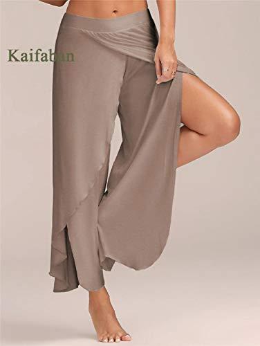 Yogabroek extra zachte legging met zakken voor dames,Dames yoga broek met wijde pijpen, grote maten, split fitness sportswear-H_S,Blouse met V-hals