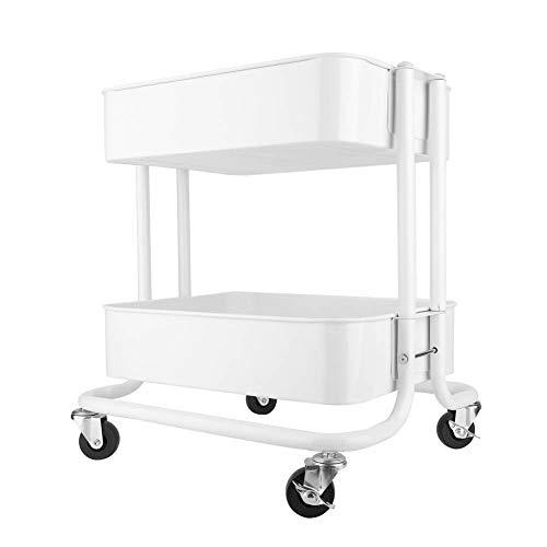 Rollwagen, 2-Tier Utility Beauty Trolley Wagen 360 Grad drehbare Riemenscheibe Einfache Montage Lagerregal Geeignet für Wohnzimmer Küche Schlafzimmer Badezimmer Weiß