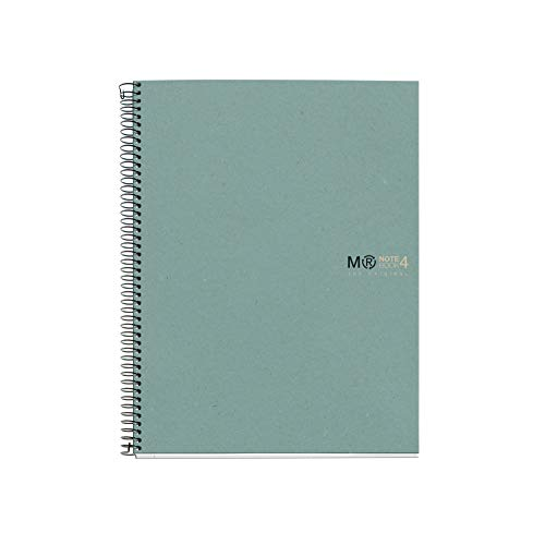 Miquel Rius Quaderno 100% riciclato, copertina in cartone riciclato, formato A4 210 x 297 mm, 4 fori microperforati, 120 fogli riciclati da 80 g m² e 4 righe di colore, quadretti da 5 mm, Ecoblu