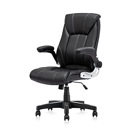 JIU SI Office Chair Commercial Ergonomic High-Back Bonded Leather Executive Chair with Flip-Up Arms and Lumbar Support pc gaming chair