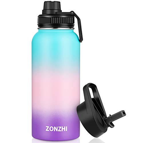 ZONZHI Trinkflasche Edelstahl 1L-Auslaufsicher Sport Thermosflasche BPA-Frei Vakuum Isolierbecher mit Wasserflasche Reinigungsbürste - für Erwachsene, Schule, Zuhause, Outdoor, Yoga, Gym- 2 Deckeln