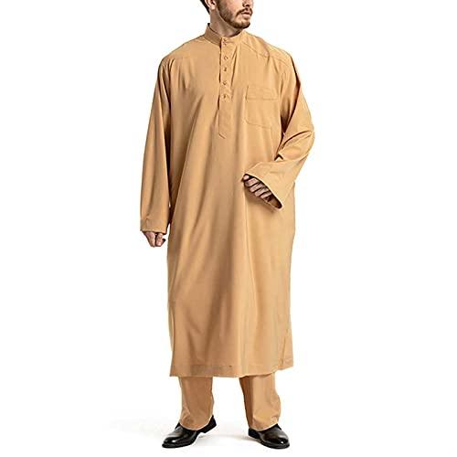 XCTLZG Islamic Men's Robe Cotton Pyjamas Retro Shirt Middle East Ethnic Clothing Arab Solid Color Long Sleeve Button O Collared Lounge Wear Set S- 3XL,Yellow,L