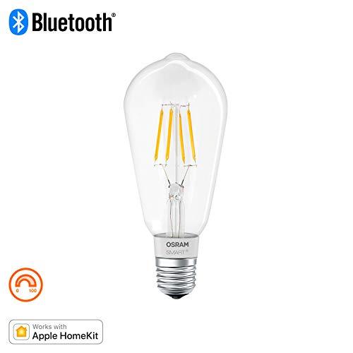 OSRAM Smart+ Ampoule LED à Filament Connectée - Culot E27 - Forme Edison - Dimmable - Blanc Chaud 2700K - 5,5W (équivalent 50W) - Bluetooth - Compatible Siri sur Apple & Alexa sur Android