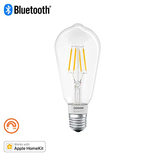 OSRAM SMART+ LED Filament Edison, Bluetooth Lampe mit E27 Sockel, dimmbar, ersetzt 50W Glühbirne, warmweiß , Kompatibel mit Apple Homekit und LEDVANCE Smart+ App für Android