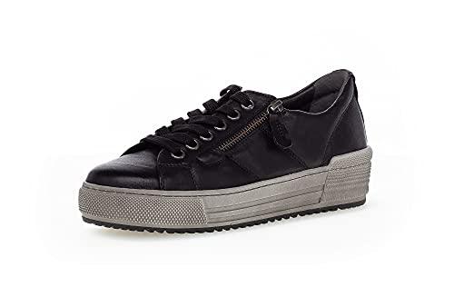 Gabor Damen Low-Top Sneaker, Frauen Halbschuhe,Wechselfußbett,Moderate Mehrweite (G),Turnschuhe,Laufschuhe,schnürschuhe,Woman,schwarz,41 EU / 7.5 UK