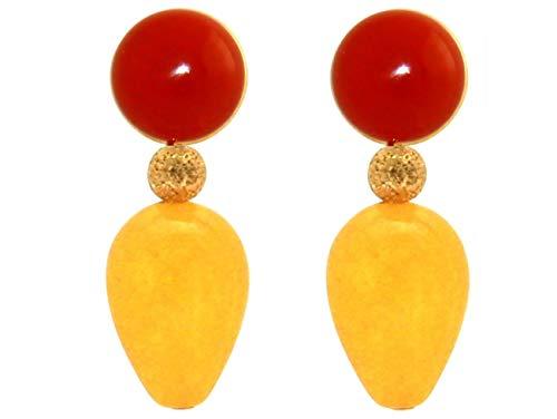 Gemshine Ohrringe mit orange-roten Karneolen und goldgelben Jade Edelstein Tropfen. 925 Silber vergoldet - Qualitätsvoller Schmuck Made in Germany