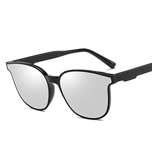 Gafas De Sol Hombre Mujeres Ciclismo Gafas De Sol para Hombre Gafas De Sol Cuadradas De Moda con Montura De Gafas De Sol Clásicas para Mujer-Plata