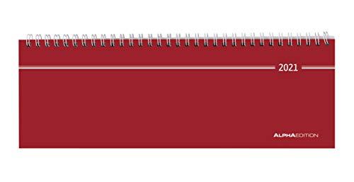 Tisch-Querkalender rot 2021 - Büro-Planer 28,5x10 cm - Tisch-Kalender - 1 Woche 2 Seiten - Ringbindung - Alpha Edition