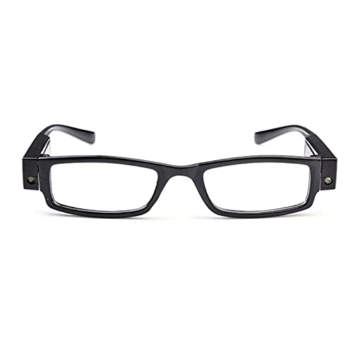 LED Readers with Lights Reading Glasses Lighted Magnifier Nighttime Reader Compact Full Frame Eyewear Clear Vision Unisex Clear Vision Lighted Eye Glasses(+3.0)