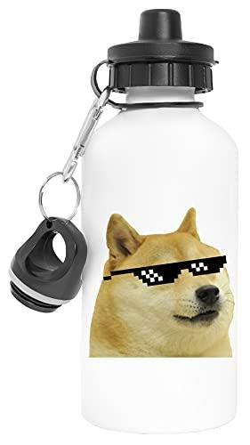Doge With Sunglasses Aluminio Reutilizable Deporte Viaje Botella de Agua Blanco Aluminium Reusable Sport Travel Water Bottle White