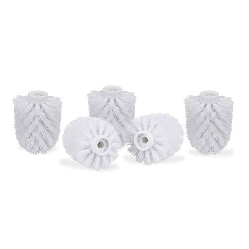 Relaxdays Juego de 5 Cepillos de Recambio Escobilla de Baño, Plastico, Blanco, Rosca de 9,5 mm y Diámetro de 8 cm