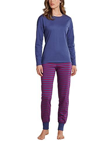 Schiesser Damen Essentials Anzug lang Pyjamaset, blau, 038