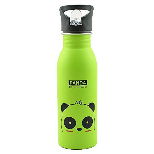 TAORANG Botella de agua irrompible para niños con pajita, lindos animales Motivacionales botellas de agua de acero inoxidable para niños, taza libre de BPA para niños de 500 ml
