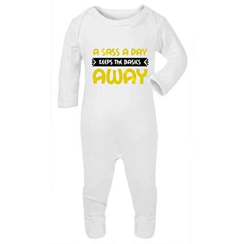 Sass a Day Keep The Basics Away (Gold Metallic) - Mono de bebé con pies, 6-12 meses, color blanco