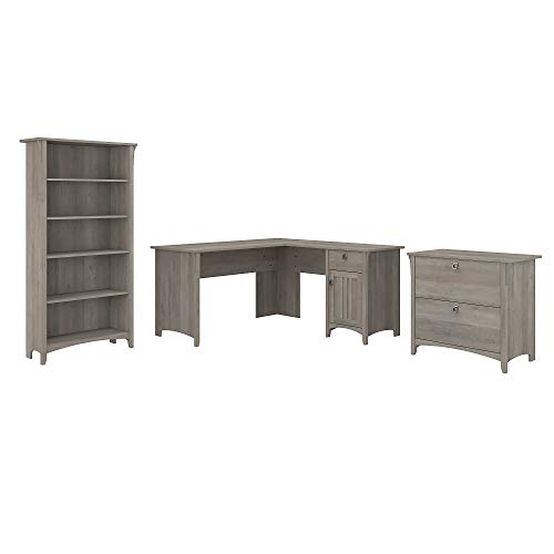 Bush Furniture Salinas L Shaped Desk with Lateral File Cabinet and 5 Shelf Bookcase, 60W, Driftwood Gray