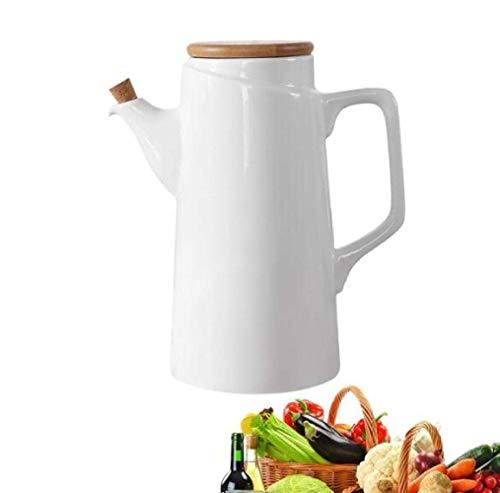 ZMHVOL Dispensador de vinagre de Aceite de vinagre de Aceite de cerámica Hecha a Mano Cubierta de Grano de Madera 500 ml de Cocina WANGHN (Color : White 500ml)