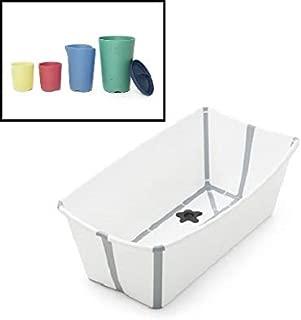 Stokke White Flexi Bath and Bath Toys Bundle