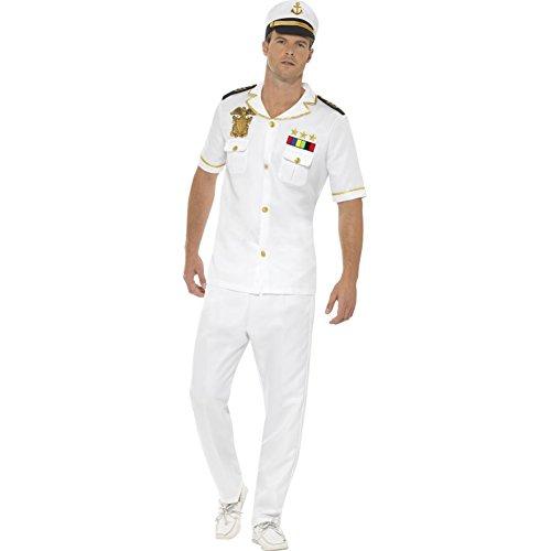 Smiffy's - Heren Kapitän kostuum, bovenstuk, broek en hoed, wit