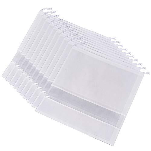 Ibnotuiy 10 Stück Vliesstoff staubdicht Handtasche Aufbewahrungstasche Organizer Kordelzug Staubschutz Medium, weiß