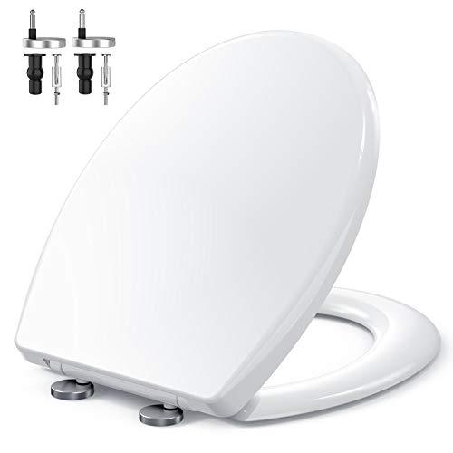Tapa de WC, MUJIUSHI Asiento para Inodoro Universal, Cierre Suave Lento, Bisagras Ajustables, Desmontaje rápido, Fácil de Limpiar, Asiento de Inodoro en Forma de O (440 x 375 x 54 mm)