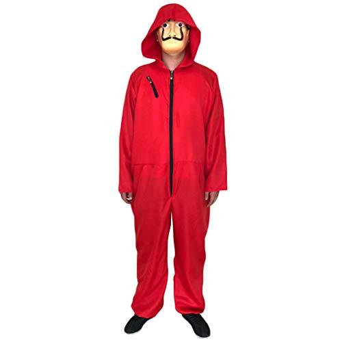 QWEASZER Costume cosplay per adulti di Halloween La Casa de Papel Tuta Dali rossa con maschere per adulti La Casa De Papel Maschera Salvador Dali Maschera viso,Red-M