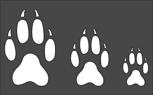 Rubstamper Wolf Print 4', 3', 2' Logo Stencil Reusable Sturdy Flexible Clear Plastic 1-5x8 in Arts and Crafts Material Scrapbooking for Airbrush Painting Drawing