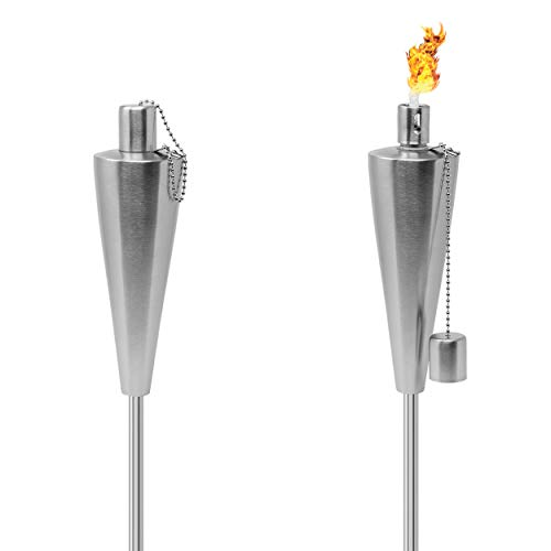 Matney Stainless Steel Torches – 5 ft Outdoor Oil Torch Lamp for Citronella - Garden, Lawn, Backyard Parties – Includes Fiberglass Wick and Snuffer Cap- Set of 2 (Silver Torch Set – Cone)