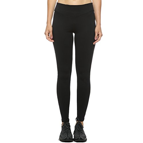 4Ucycling Donna Lunga Yoga Pantaloni Sportivi Leggings Pantaloni da Corsa Indoor Fitness Workout Outdoor Jogging, Schwarz mit Mesh, L