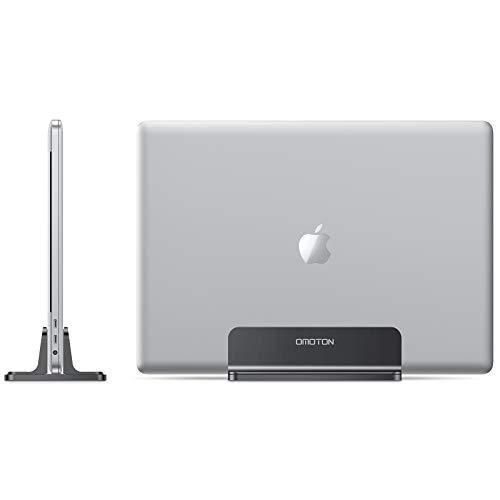 OMOTON Supporto Verticale per Laptop, Stand per Notebook, Supporto Regolabile, Dock da Scrivania in Alluminio per MacBook/Notebook/Surface PRO e iPad, Nero