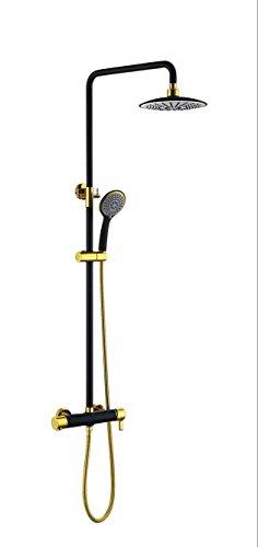 NIHE Douche complète cuivre-or noir mur chrome Ensemble douche ensemble pluie set de douche en cuivre , A - Garantie de 5 ans