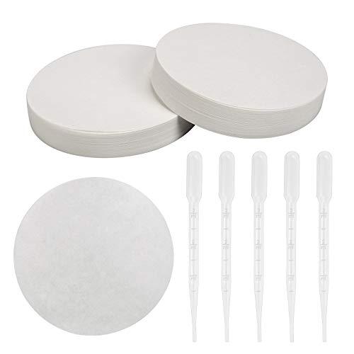 CHIFOOM 100 Stücke Qualitatives Filterpapier Runde Filterscheiben mit Glatter Oberfläche Durchmesser 11cm Papierscheiben mit mittlerer Fließgeschwindigkeit für Laborbedarf Chemische Anwendungen