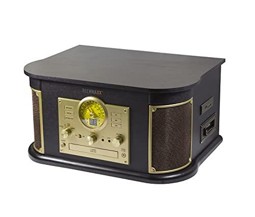 Technaxx Nostalgique Bluetooth Numériseur de Tourne-Disque All-in-One TX-103 Numérisez Disque Vinyle/Cassette/CD/Radio ou AUX-in sur clé USB ou Carte SD Jusqu'à 32Go