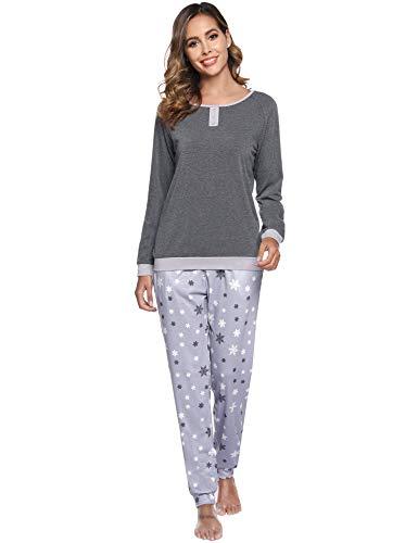 Aibrou Women's Cotton Long Sleeve Pajamas Set Sleepwear Snowflake Pattern Bottom Loungewear