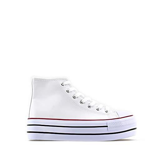 Modelisa - Zapatillas Deportivas con Plataforma para Mujer (Blanco, 38 EU, 38)