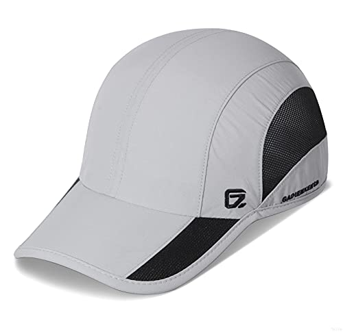 GADIEMKENSD Quick Dry Sports Hat Lightweight Breathable Soft Outdoor Run Cap (Classic up, LightGrey)