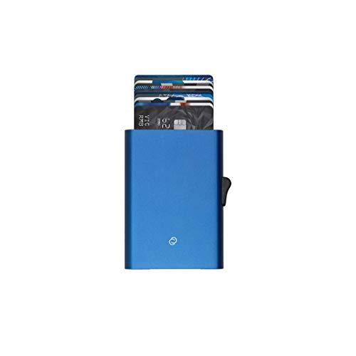 C-secure Kreditkartenetui aus Aluminium mit Kartenschutz RFID NFC Schütz, Kartenetui, Cardholder mit Pop-Up Design, Kreditkartenhüllen für Damen und Herren (blau, XL (8 bis 12 Karten))