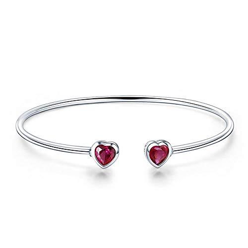 Bijoux Blu Pulseras de plata de ley 925 con corazones rojos auténticos, 100 % plata de ley 925 con circonita roja, diseño de corazón